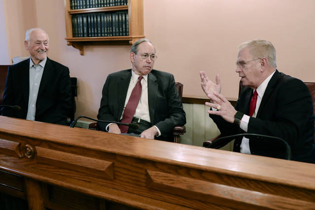 Former Ohio Governor Ted Strickland, right, speaks during an interview on Tuesday at the Ohio Statehouse in Columbus, Ohio. Also pictured are former Ohio governors Robert Taft, center, and Richard F. Celeste, left. After a collective 20 years as Ohio's governor, Richard F. Celeste, Bob Taft and Ted Strickland all wish they had spared more people from execution.