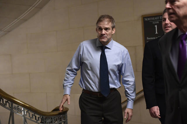 Rep. Jim Jordan, R-Urbana, arrives for a meeting on Capitol Hill in Washington, Wednesday for the House Republican leadership elections.