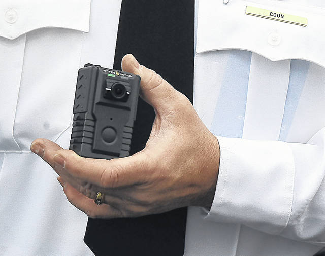 A Watch Guard body camera is displayed by The Lima Police Department. Craig J. Orosz | The Lima News