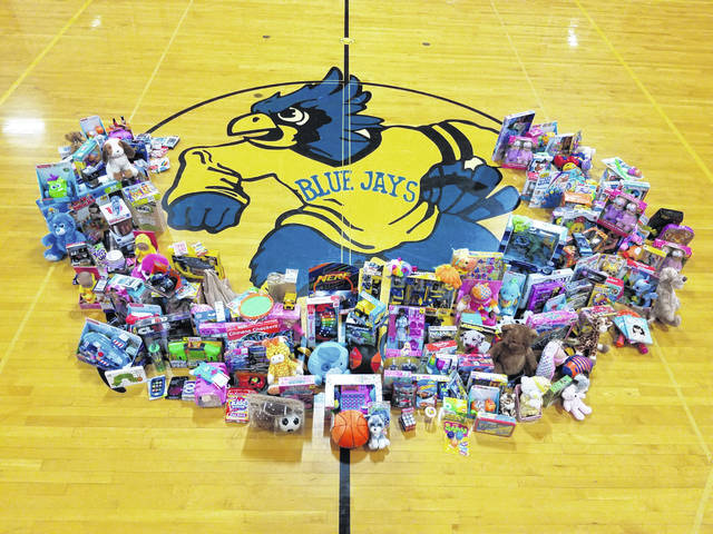 Pictured are the dozens of toys collected by Delphos St. John's students.