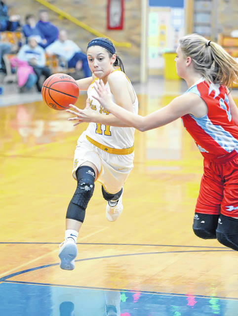 Paige Gaynier of Delphos St. John's drives to the basket against Lima Central Catholic's Jessica Wilker during Thursday night's game at Robert A. Arzen Gymnasium in Delphos.