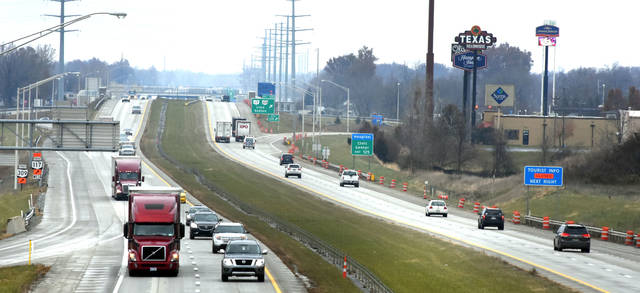 South and northbound traffic on I-75 near the 4th Street exit in Lima. Craig J. Orosz | The Lima News