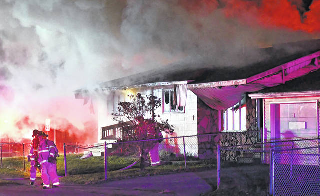 "Lima Fire Department firefighters responded to a house fire at 1206 E. Second Street at 12:39 a.m. Wednesday morning. No one was home at the time of the blaze, which left the home labeled a ""total loss."""