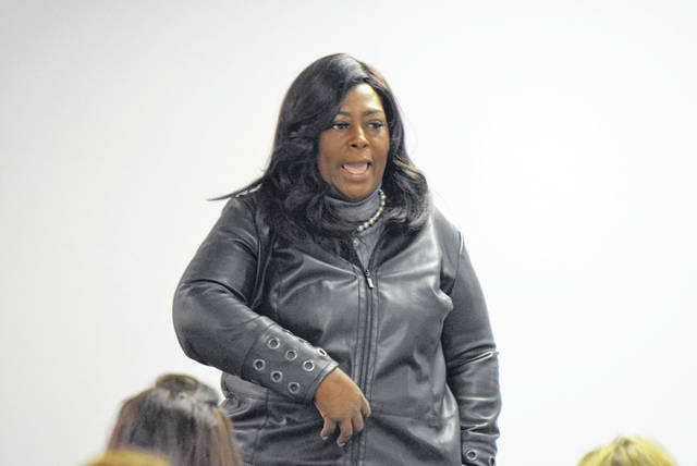Marlene Carson led a discussion on Human Trafficking Saturday at the Lima YWCA.