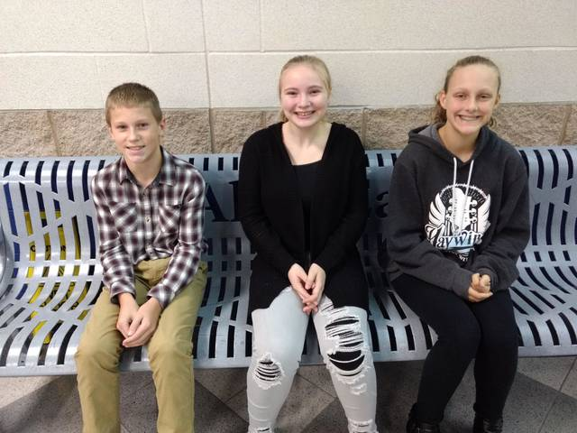 Allen East Middle School Students of the Quarter included, from left, Grant Slusser, Layne Dotson and Bethany Smith.