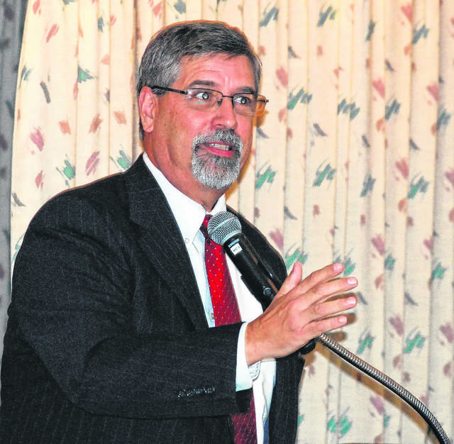 J Swygart | The Lima News Allen County Prosecuting Attorney Juergen Waldick spoke to Allen County Republicans at the monthly GOP luncheon on Friday.