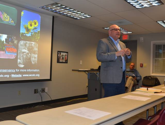 West Central Ohio Land Conservancy annual meeting keynote speaker and lawyer Lee Schroeder discussed current legal issues regarding farmland preservation during the West Central Ohio Land Conservancy annual meeting at The Ohio State University at Lima, Wednesday.
