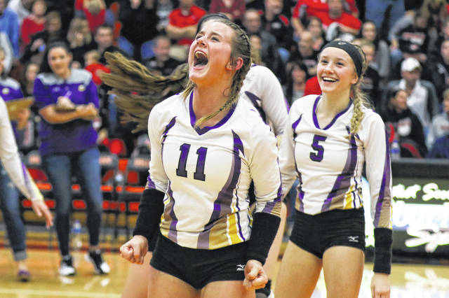 Leipsic's Lyndie Hazelton (11) and Peyton Heitmeyer (5) celebrate after defeating Arlington in a Division IV regional semifinal Thursday night at Elida. See more volleyball photos at LimaScores.com.