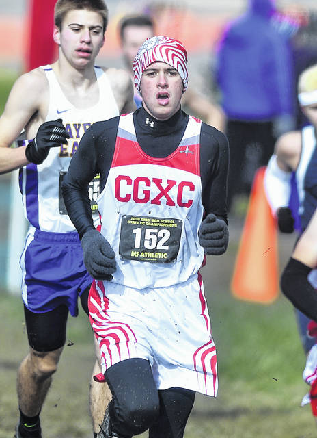 Columbus Grove's Breece Pingle competes in the boys Division III race at Saturday's state cross country championships at National Trail Raceway in Hebron.