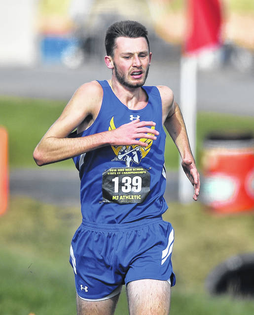 Lincolnview's Jacob Keysor competes in the boys Division III race at Saturday's state cross country championships at National Trail Raceway in Hebron.