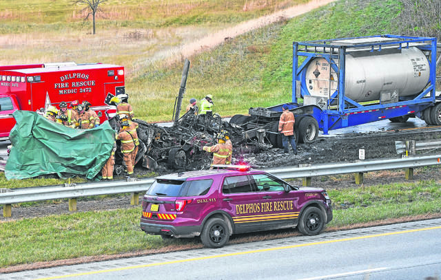 A Dodge Dakota pickup truck crossed the median into an ongoing semi heading westbound on U.S. 30, causing two fatalities, near Delphos.