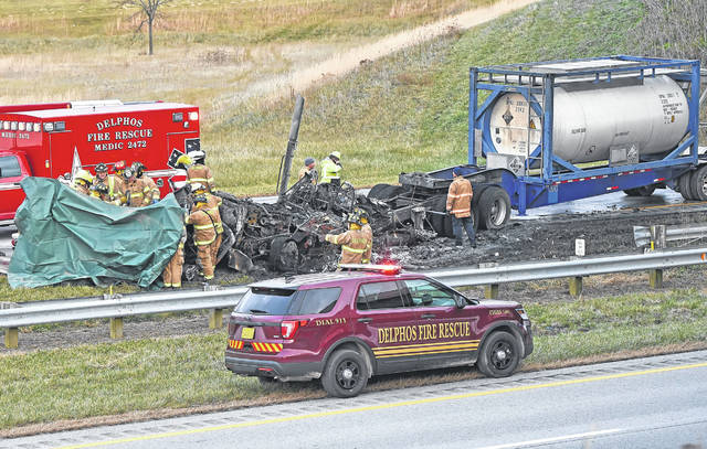 A Dodge Ram pickup truck crossed the median into an ongoing semi heading westbound on U.S. 30, killing both people in the pickup Tuesday night. The occupants of the semi were transported to St. Rita's Medical Center with minor injuries. Richard Parrish | The Lima News