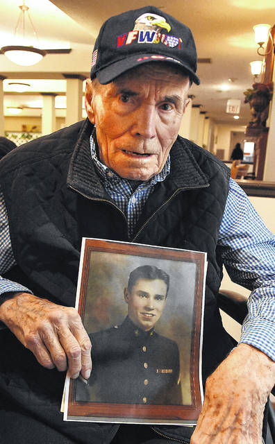 Leo Brown, 93, resides at The Wyngate, Lima. He joined the Marines Corps, 1001st Platoon, after graduation from Spencerville High School and turning 18. He served from October 1943 to January 1946. He served on the USS Colorado in the Pacific, namely the Philippines and New Caledonia. His job was to feed the ammo to the gunners. He received a shrapnel injury in the neck when a kamikaze hit the ship and was awarded a Purple Heart. He recovered at New Caledonia fleet hospital and Pearl Harbor, then returned to active duty.