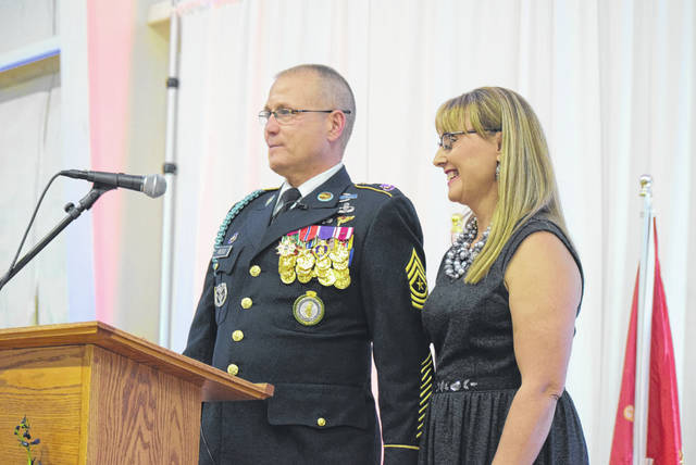 Sgt. Maj. Doug Reed and his wife Jana were the featured speakers at a Veterans Appreciation Dinner Saturday at Cable Road Alliance Church.