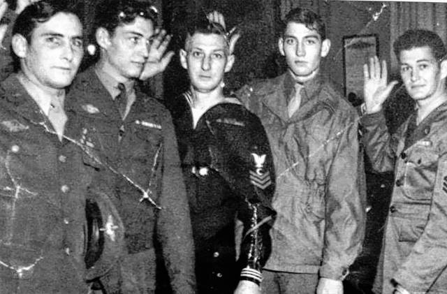 From left, Charles M. Counts (father/Army-Air Force Division), Kenneth Counts (uncle/Army), LeRoy Counts (grandfather/Navy), Pete Counts (uncle/joined Army after high school) and Donald Counts (uncle/Army).