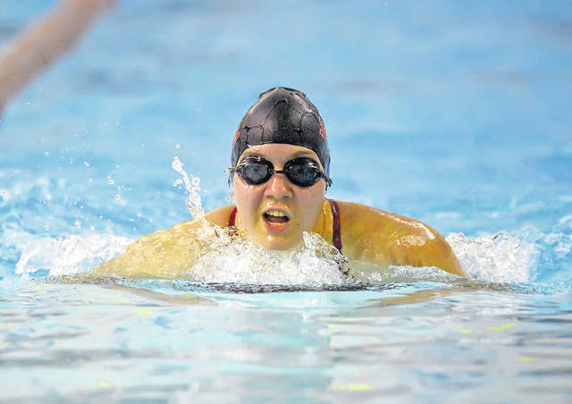 Shawnee's Madisyn Rex competes in the 200 yard during Wednesday's tri-swim meet with Lima Central Catholic, Shawnee and Bath at the Lima YMCA. Result were unavailable at press time.