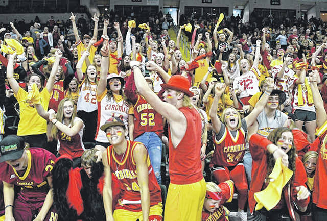 New Bremen fans cheer on the Cardinals during Saturday's Division IV state final at Wright State's Nutter Center in Fairborn.