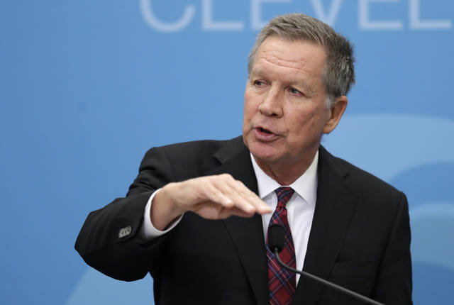 This Tuesday, Dec. 4, 2018 photo shows Ohio Gov. John Kasich speaking at The City Club of Cleveland, in Cleveland. A brewing standoff between legislative Republicans in Ohio and their same-party governor over some big-ticket policy issues was averted, perhaps permanently, during a whirlwind week at the Statehouse. Bills on abortion and guns that outgoing Kasich opposes appeared poised for legislative action as lawmakers returned to work after November's election. A Medicaid expansion he's fiercely defended also faced a looming threat.