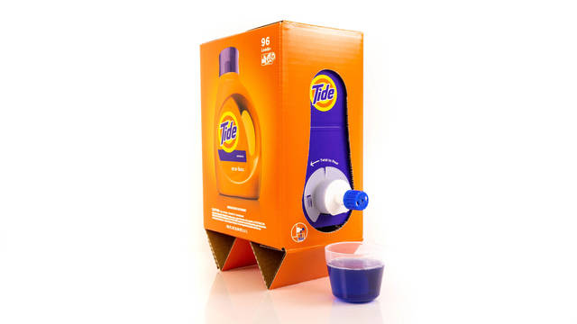 This undated image provided by P&G shows the Tide Eco-Box. Tide and Seventh Generation have introduced redesigned laundry detergents that are several pounds lighter by cutting down on plastic in their packaging and using less water in their formulas.