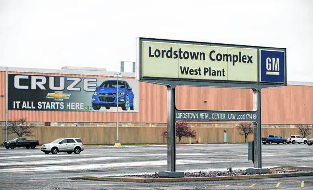 In this Nov. 27, 2018 photo, a sign is displayed at General Motors Lordstown West plant in Lordstown, Ohio.
