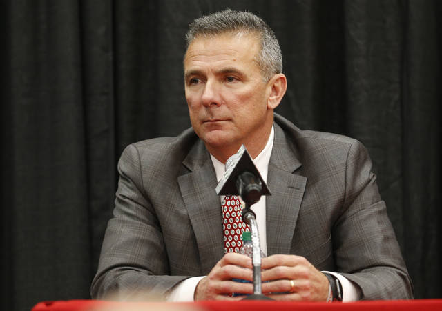 Ohio State NCAA college football head coach Urban Meyer answers questions during a news conference announcing his retirement Tuesday, Dec. 4, 2018, in Columbus, Ohio. (AP Photo/Jay LaPrete)