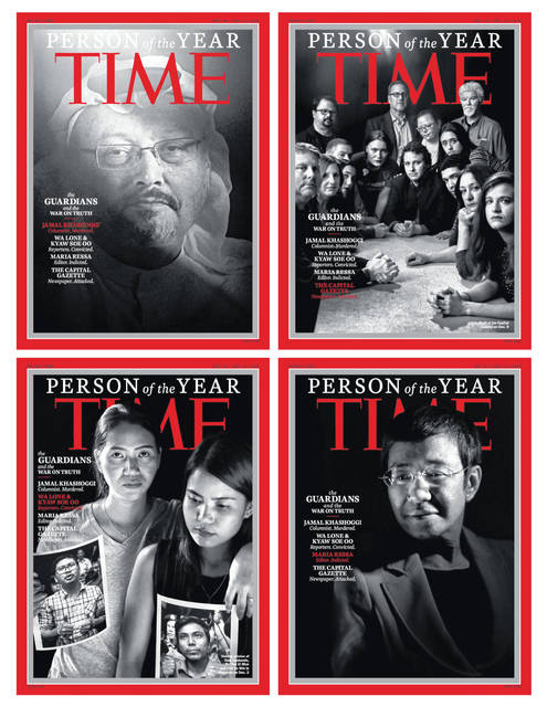 """This combination photo provided by Time Magazine shows their four covers for the """"Person of the Year,"""" announced Tuesday. The covers show Jamal Khashoggi, top left, members of the Capital Gazette newspaper, of Annapolis, Md., top right, Wa Lone and Kyaw Soe Oo, bottom left, and Maria Ressa. The covers, which Time called the """"guardians and the war on truth,"""" were selected """"for taking great risks in pursuit of greater truths, for the imperfect but essential quest for facts that are central to civil discourse, for speaking up and speaking out."""""""