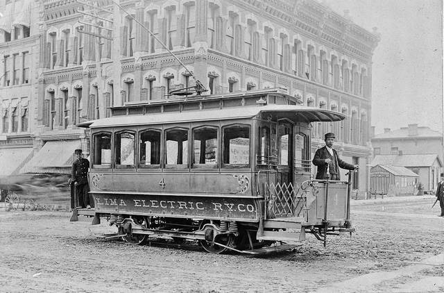 Car No. 4 is headed north on Main Street in 1893. The Harper Block is in the background.