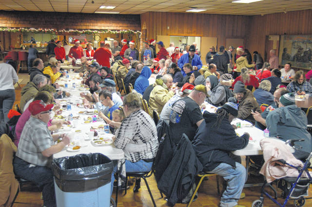 Hundreds of people enjoyed Christmas dinner Tuesday at the Lima VFW.