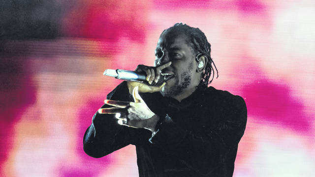 Kendrick Lamar, on stage at the Coachella Valley Music and Arts Festival in Indio, Calif., on April 23, 2017.