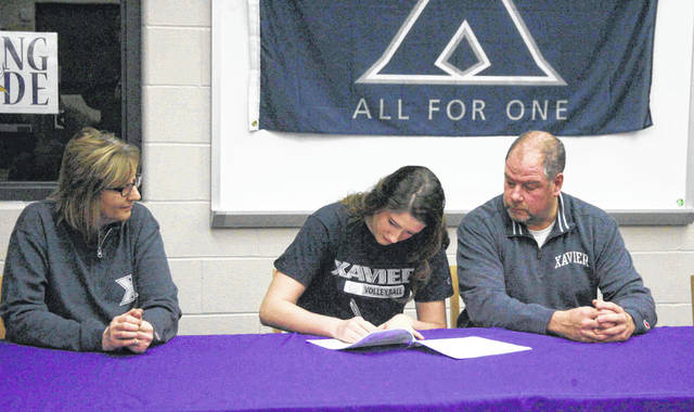 Hayley Heitmeyer (middle) signs her national letter of intent to play volleyball at Xavier as her mother, Rita (left), and father, David (right), look on.