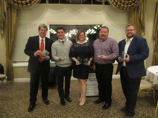 From left are Lima Young Professionals award winners Tim Stolly, Stolly Insurance, Jeremy Martinez, Veterans Memorial Civic Center, Adah Ellerbrock, Woof Boom Radio and Lima Locos, Ty Shelby, OmniSource and Dale Gisi, Mercy Health-St. Rita's Medical Center president.