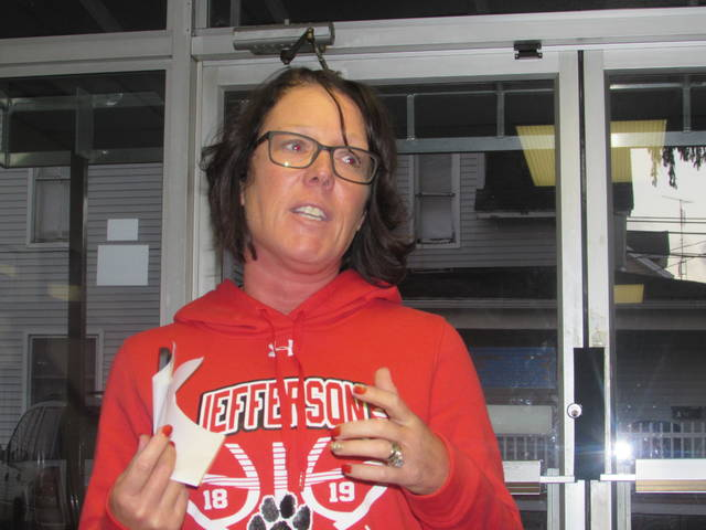 Jamie Clark, Franklin Elementary School Parent Club president, invited those who attended Monday's Delphos City Schools Board of Education meeting, to get involved in the club. Jennifer Peryam | The Lima News