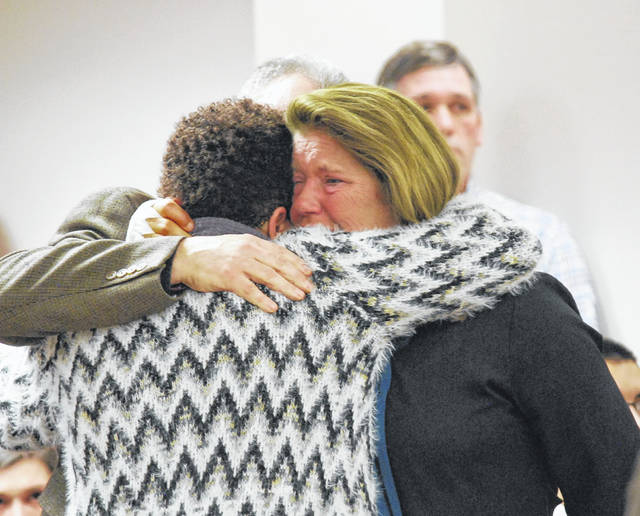 Nilsa Champman, the mother of Brandon Matos, shared a hug in Allen County Common Pleas Court on Monday with the parents of Lima resident Cody Rollins, who was sentenced for causing a 2017 traffic accident that claimed Matos' life. Rollins received a 180-day jail sentence, with 150 days suspended, and one year of probation on a misdemeanor vehicular homicide charge.
