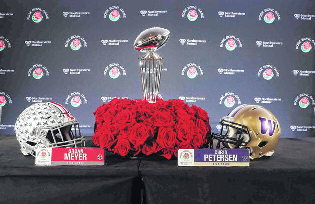 The Rose Bowl trophy was brought to Monday's press conference in downtown Los Angeles.