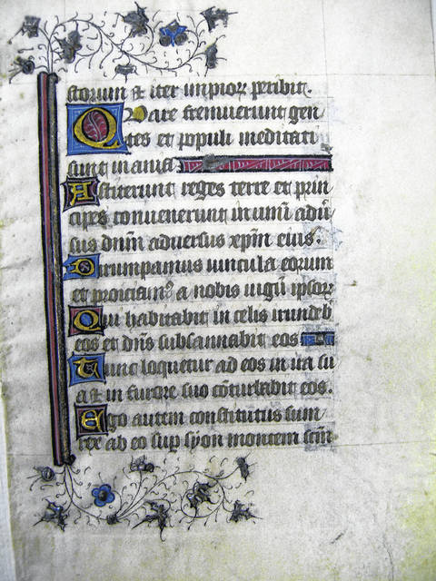 Illuminated page from a mid-15th-century French Book of Hours which is owned by the Lima Public Library. The text is from Psalms 1:6 through 2:6 (the Office of the Virgin at Prime). The preceding page is owned by Kenyon College.