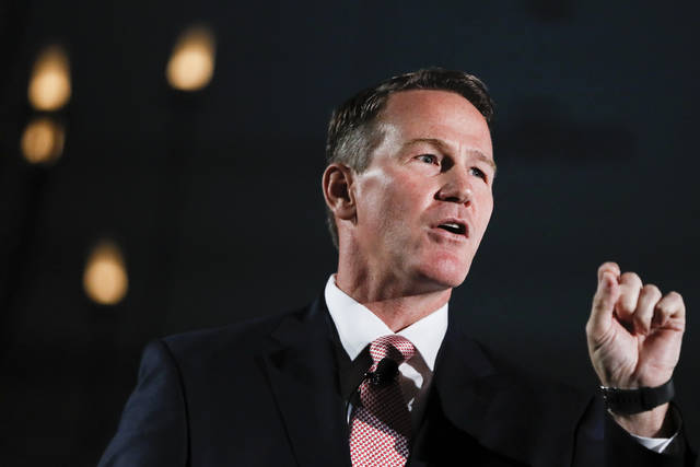 """This Tuesday, Oct. 16, 2018 file photo shows Secretary of State Jon Husted speaking at the Columbus Chamber of Commerce Government Day in Cincinnati, Ohio. Husted said Wednesday that more than 275,000 inactive Ohio voters are about to get their final opportunity to keep from dropping off the rolls. Ohio's procedure for maintaining its voter rolls is considered one of the most stringent in the nation, because it employs a """"supplemental process"""" that has led to the removal of thousands of people who failed to vote and then didn't respond to government requests to affirm their registrations."""