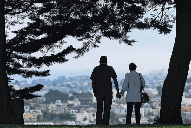 A man and woman walk under trees down a path at Alta Plaza Park in San Francisco in July 2017. Looking at the income, living expenses and life spans of today's retirees can help you make the right financial moves so your golden years aren't tarnished by an unexpected shortfall.