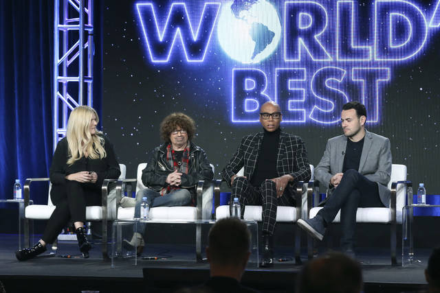 "Alison Holloway, from left, Mike Darnell, RuPaul and Ben Winston participate in the ""The World's Best"" show panel during the CBS presentation at the Television Critics Association Winter Press Tour at The Langham Huntington on Wednesday in Pasadena, Calif."