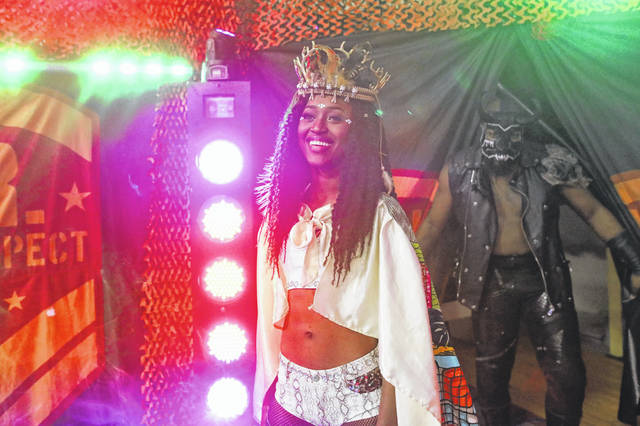 Queen Aminata walks out with Mojo McQueen during the Wrestling and Respect New Year's Knockout held by W.A.R. Ohio at the Bradfield Community Center on Jan. 5. The next planned event is Feb. 2 at Bradfield Community Center.