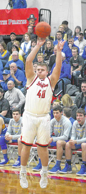 Bluffton's Mickey Ault puts up a shot beyond the 3-point arc during Friday night's Northwest Conference game against Lincolnview at Bluffton.
