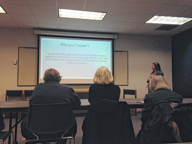 Brittany Reyes, human trafficking survivor advocate at Crime Victim Services, gives a human trafficking awareness presentation Friday at the Bluffton Public Library.
