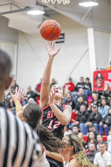Spencerville's Abbygayle Satterfield puts up a shot during Thursday night's Northwest Conference game at Bluffton.