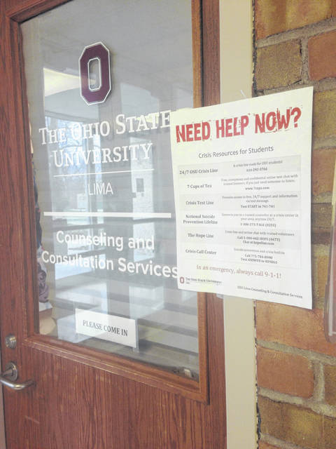 Signs outside the counseling office help direct students to the appropriate resources on the campus of Ohio State-Lima.