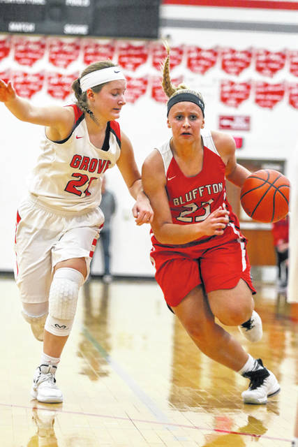 Columbus Grove's Kenzie King defends against Bluffton's Alivia Koenig during Thursday night's Northwest Conference game at Columbus Grove.