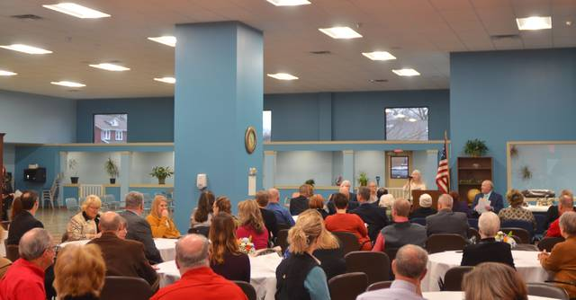 The kickoff event drew a crowd to the wide open space. Event attendees listened to speakers from its large dining area.
