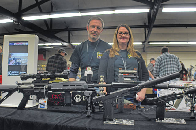 Bob and Amy Orwick with Buckeye Silencers say traffic was strong at this weekend's Tri-State Gun Collectors show at the Allen County Fairgrounds.