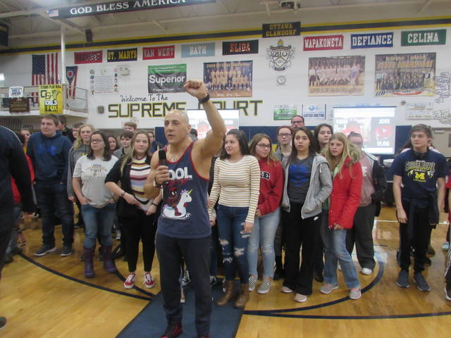 Students at Ottawa-Glandorf High School Thursday joined speaker Kevin Hines in a chant of hope.