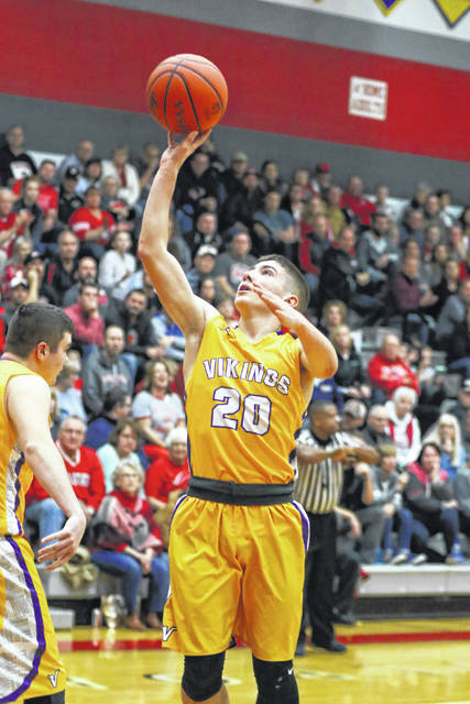 Leipsic's Drew Liffick puts up a shot during Friday night's game at Pandora-Gilboa.