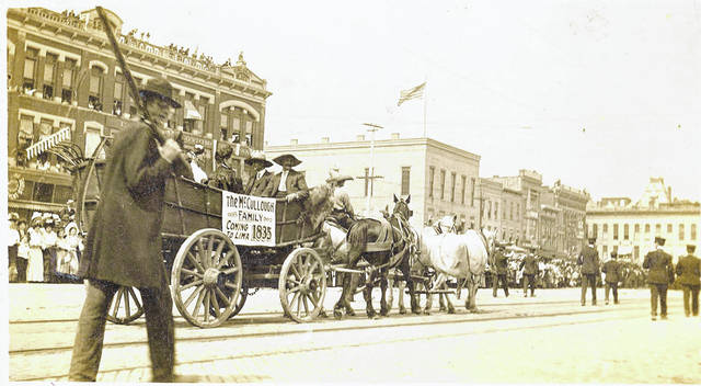 The McCullough wagon is shown in this 1908 photo from a parade in Town Square.