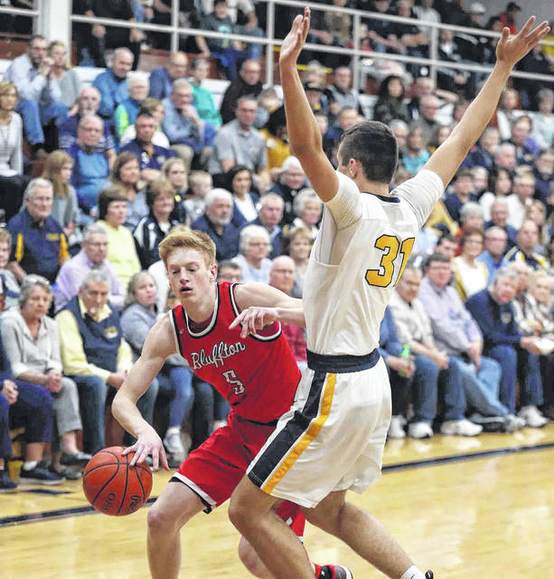 Bluffton's Mason Soper, shown here against Ottawa-Glandorf Saturday, has been a major scoring threat for the Pirates. Soper is averaging 14.9 points a a game.
